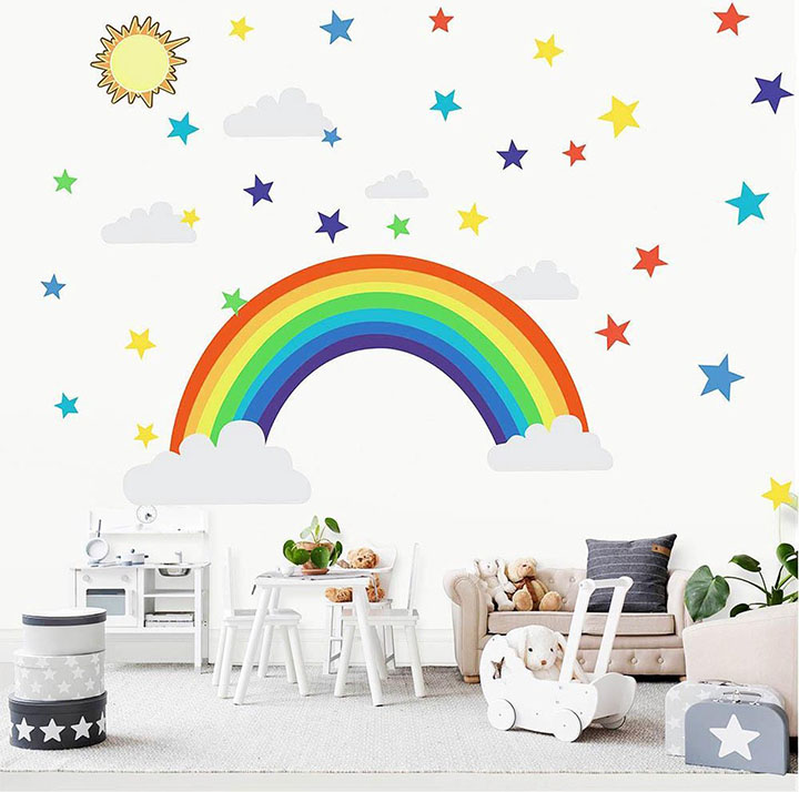 rainbow stars wall sticker for kids rooms