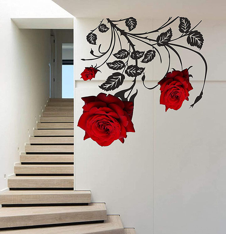 rose 3d wall sticker for walls