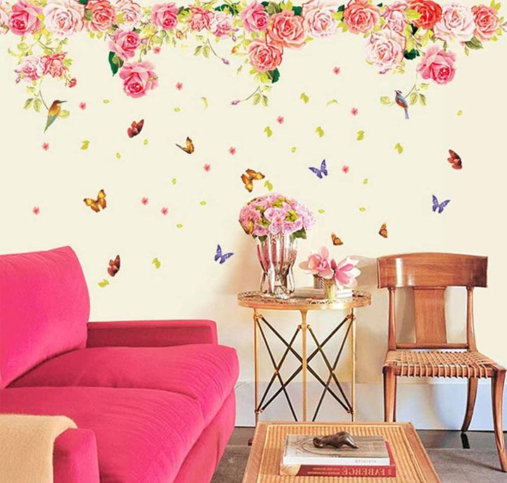 rose flowers romantic valentine' s vintage peony' wall sticker