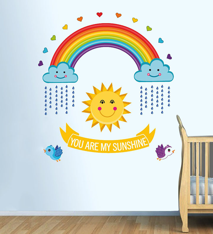 you are my sunshine rainbow wall sticker