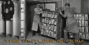 EV archive migration two people transferring archives into a vault