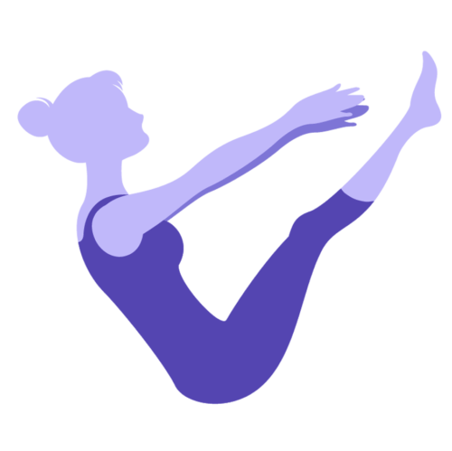 Purple Icon of woman in boat pose representing pilates offerings