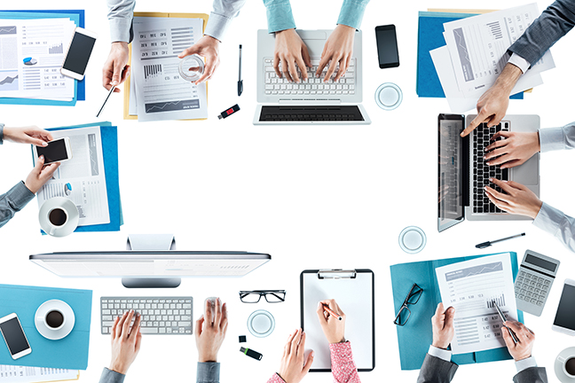 Business team meeting and working at office desk, hands top view, unrecognizable people, blank copy space