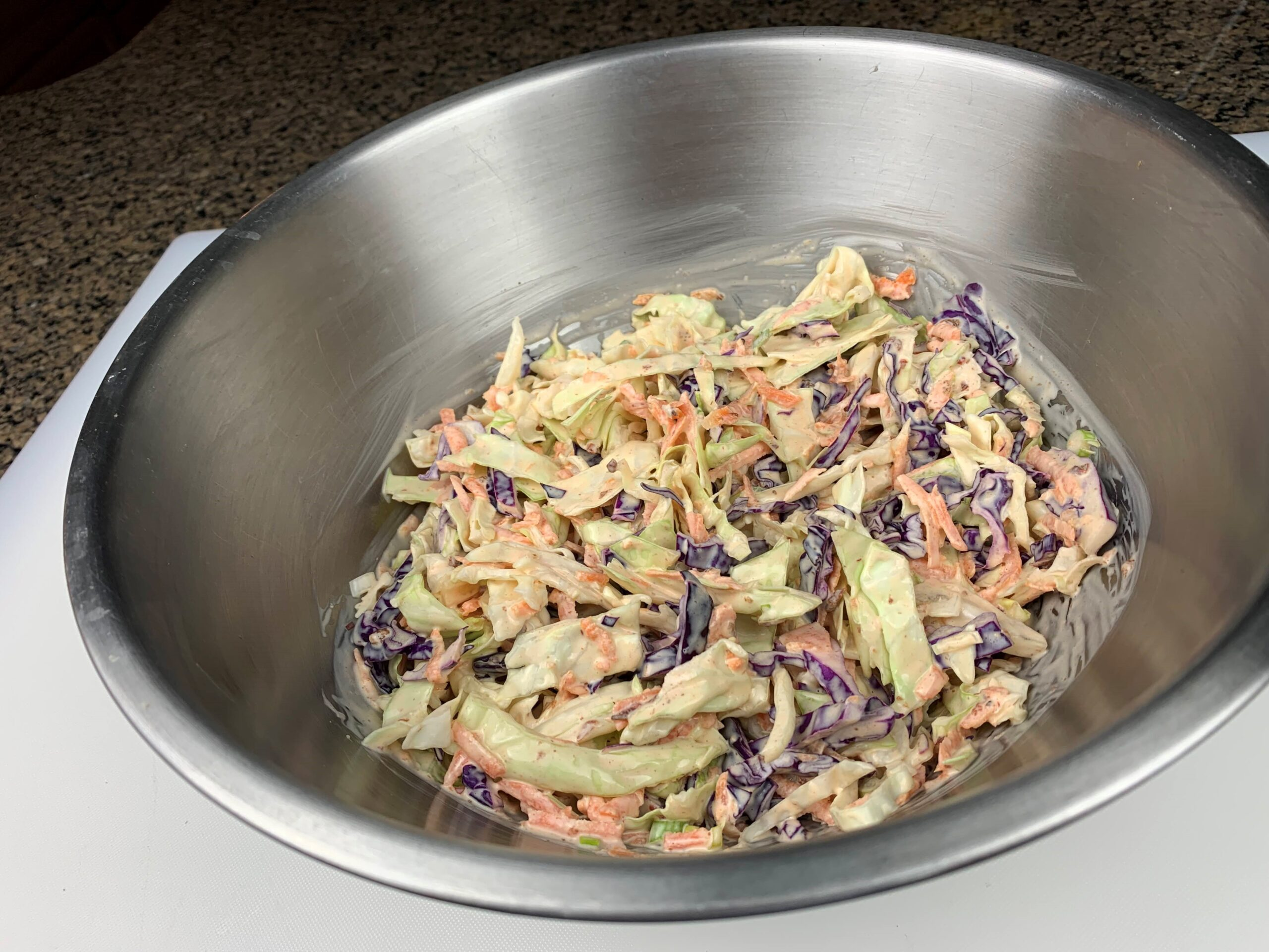 coleslaw in stainless steel mixing  bowl