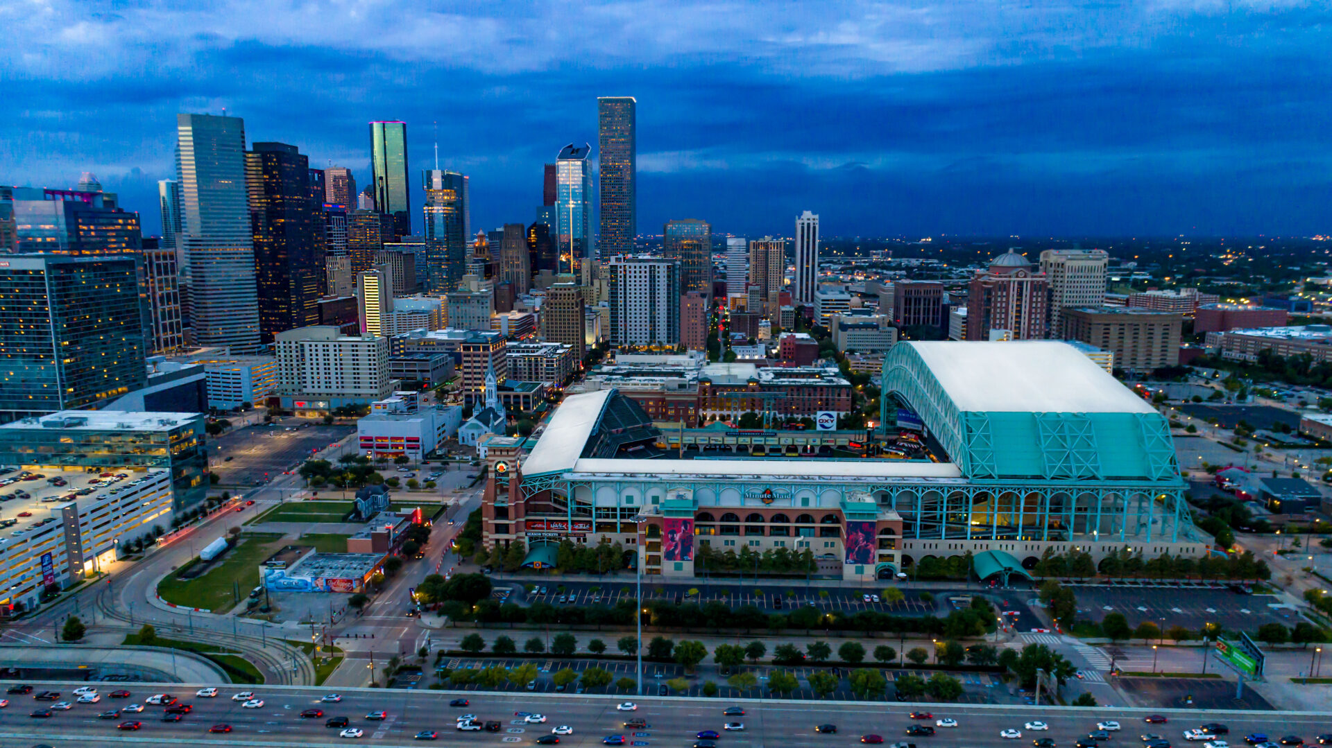 Aerial View of Minute Maid Park and Houston Skyline