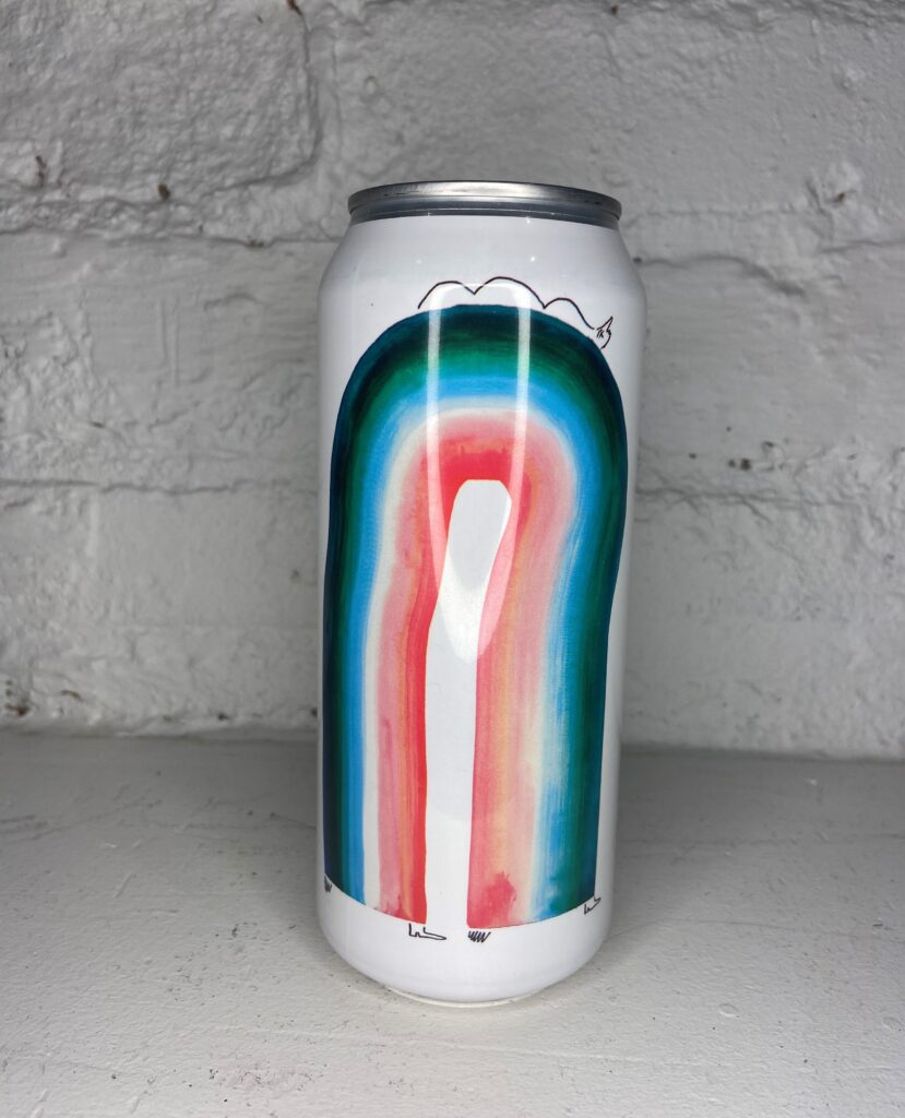 A can of IPA No. 16.  The artwork is an abstract rainbow of dark greens, blues, white and pinks on a white backgroun, with small black line details on the top and bottom.
