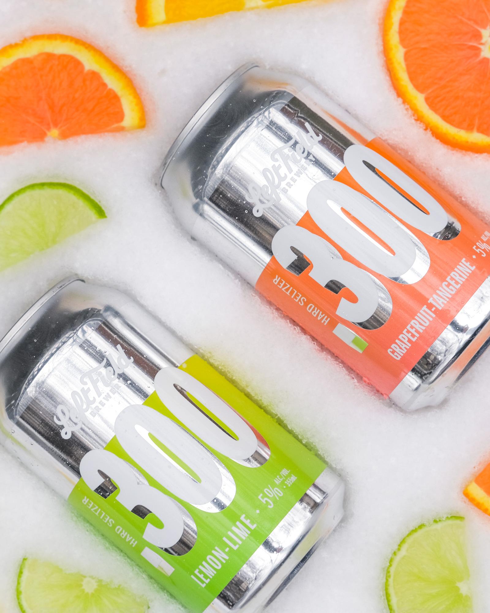 Left Field Seltzer cans - Lemon Lime & Grapefruit Tangerine