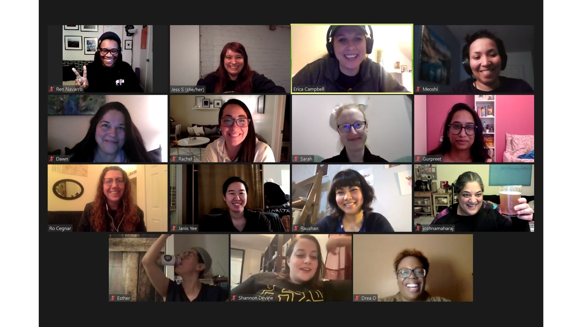 A screenshot of the inclusivity committee meeting over Zoom. Fifteen women are featured in little squares smiling at the camera.