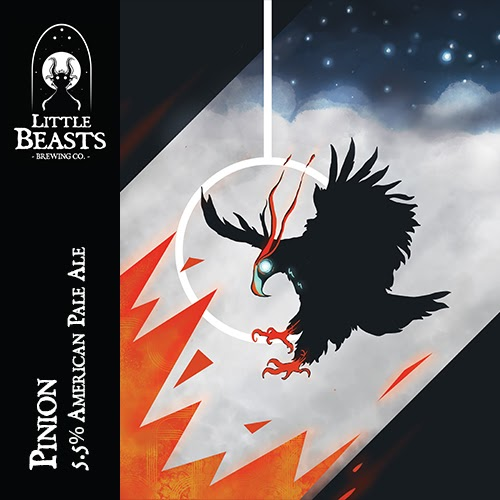 The label for Little Beasts Brewing Co Pinion American Pale Ale.  It features a black bird with orange claws and a glowing blue eye flying towards the ground and stylized orange flames.