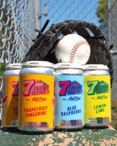 Left Field Seltzer cans - Grapefruit&Tangerine, Blue Raspberry, Lemon-Lime