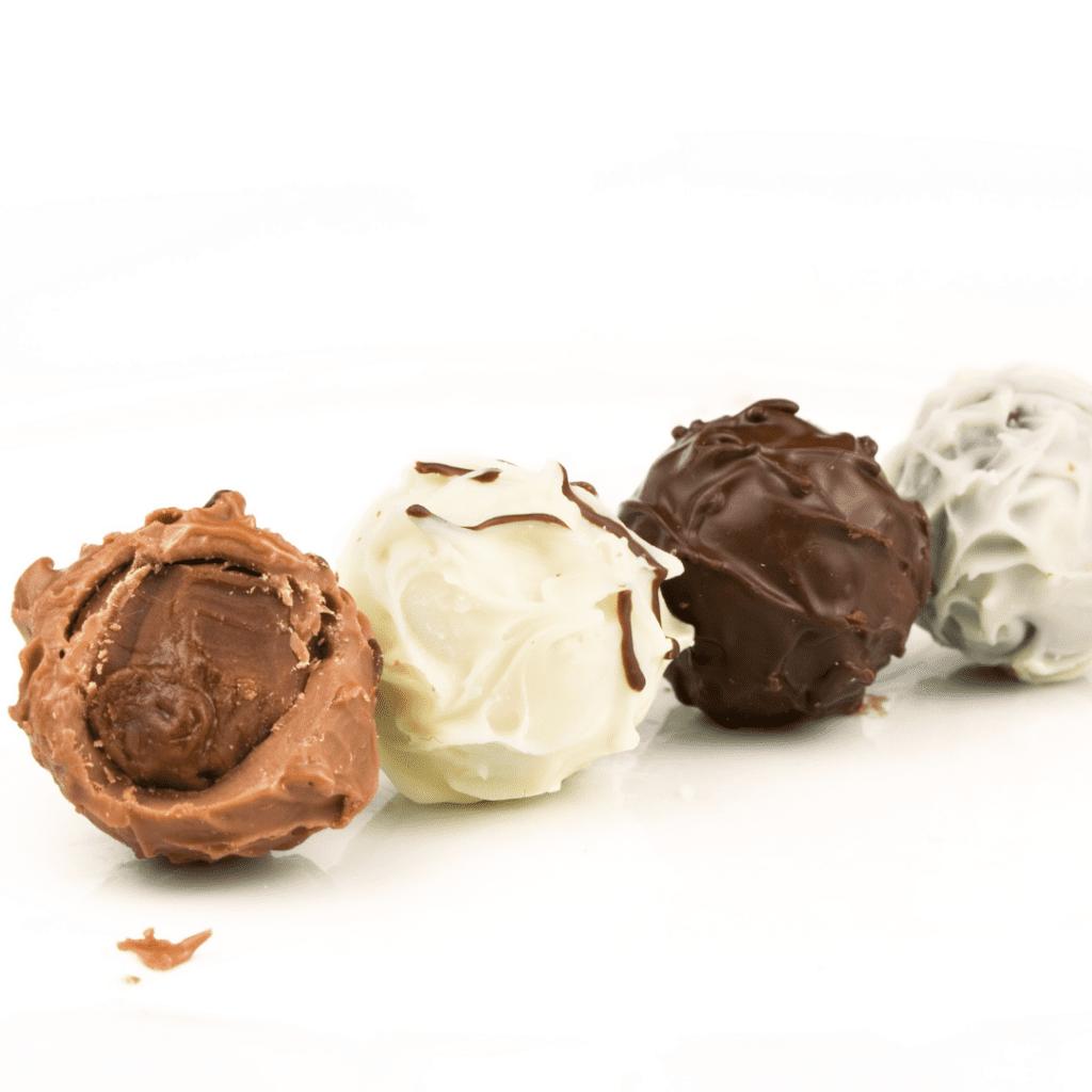 Truffles Covered in Milk Chocolate, White Chocolate, and Dark Chocolate