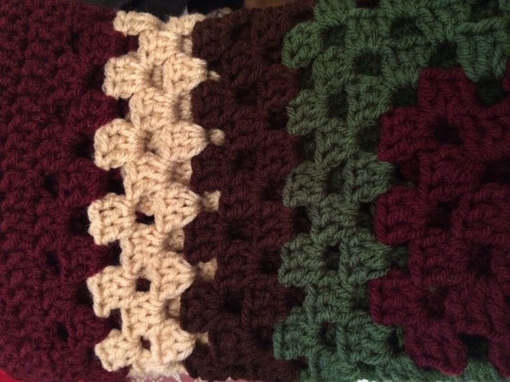 Close up of crochet stitches