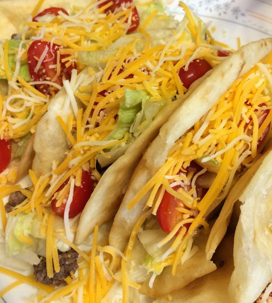 Beef Tacos filled with toppings
