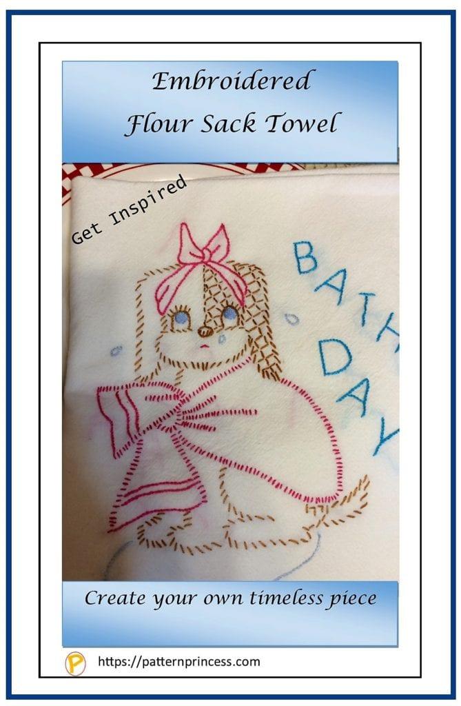 Embroidered Flour Sack Towel 1