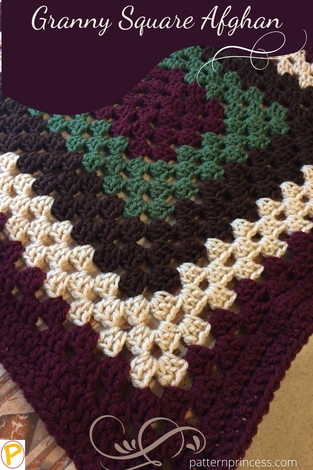 Granny Square Afghan Corner with burgundy white and green colors
