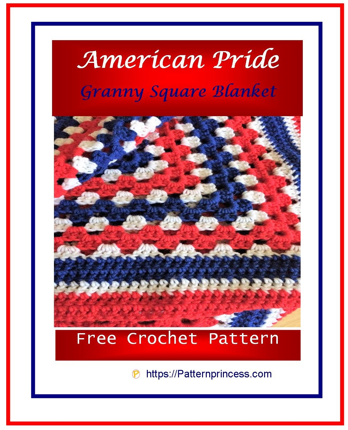 American Pride Granny Square Blanket 1