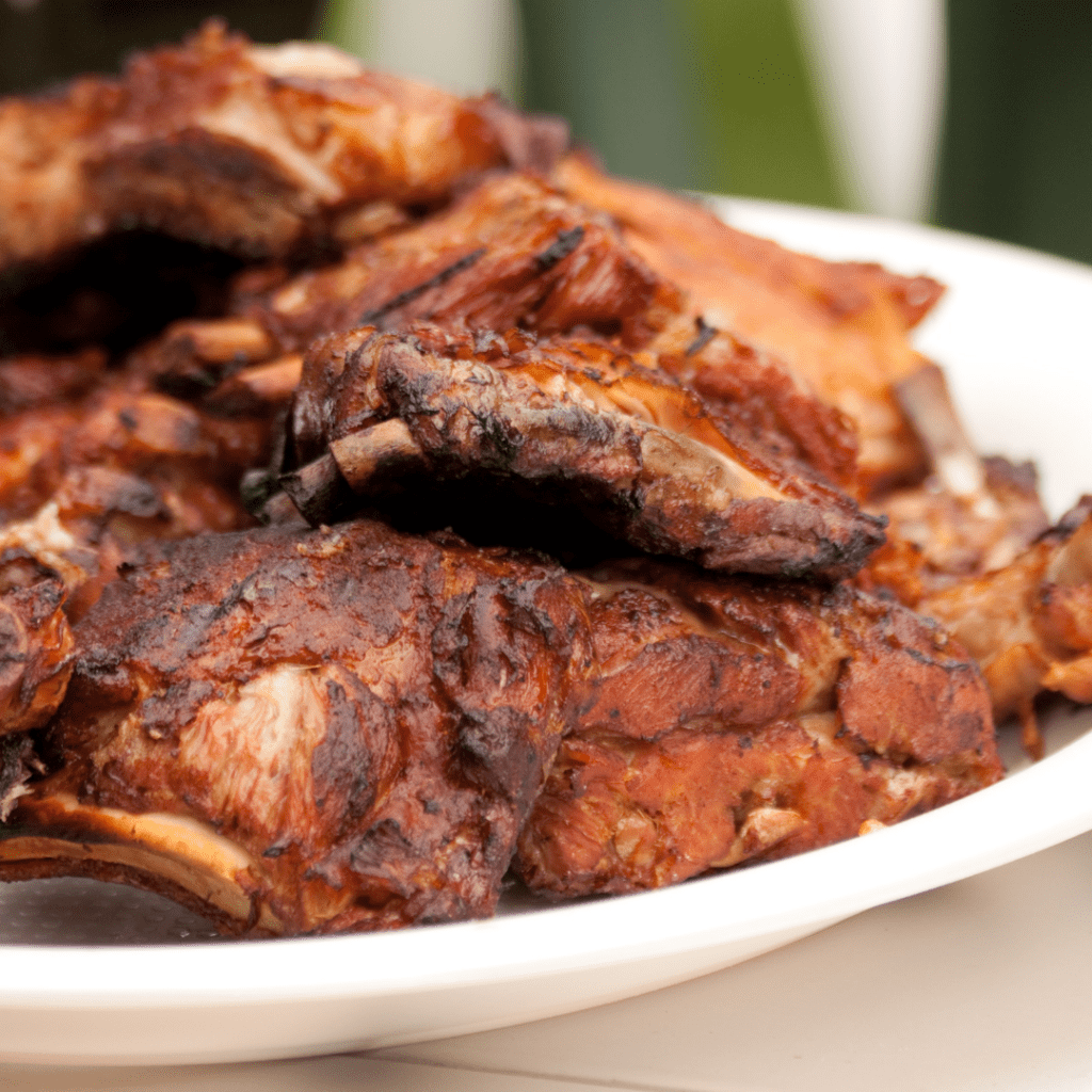 BBQ Ribs Stacked on a Serving Platter