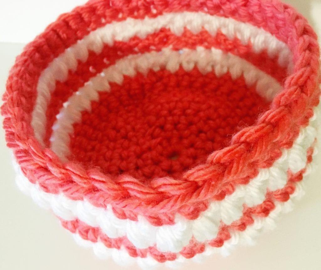 Inside coral crochet basket