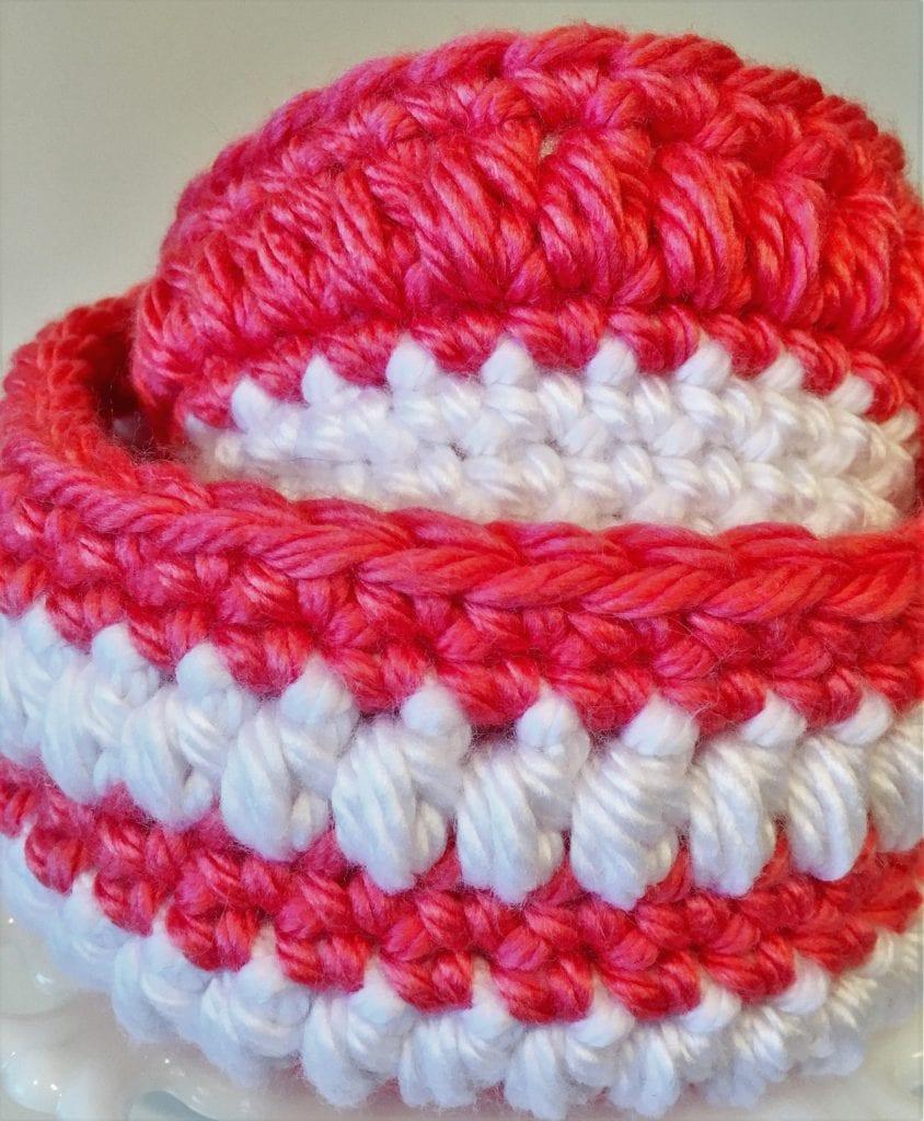 Coral Crochet Baskets Display 2