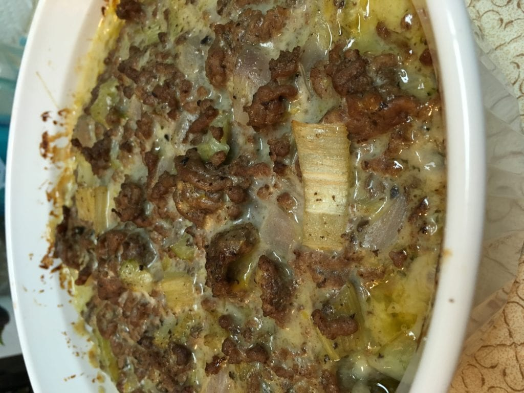 Cooked layered cabbage casserole