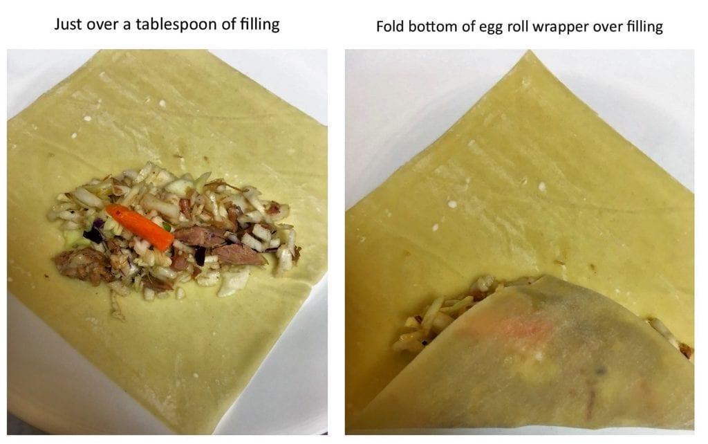 Filling and folding egg rolls