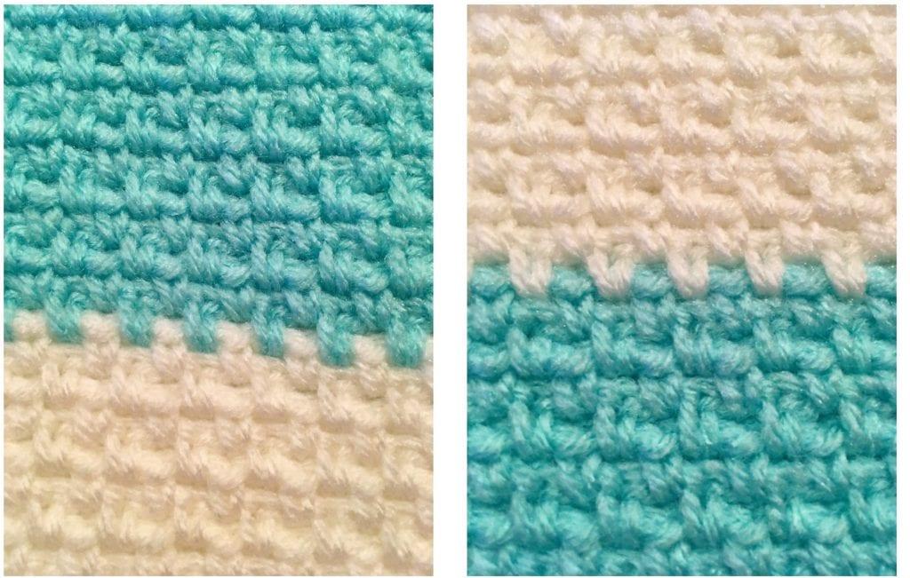 Close up of linen stitch
