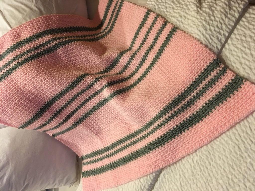 Modern Heirloom Baby Blanket Displayed