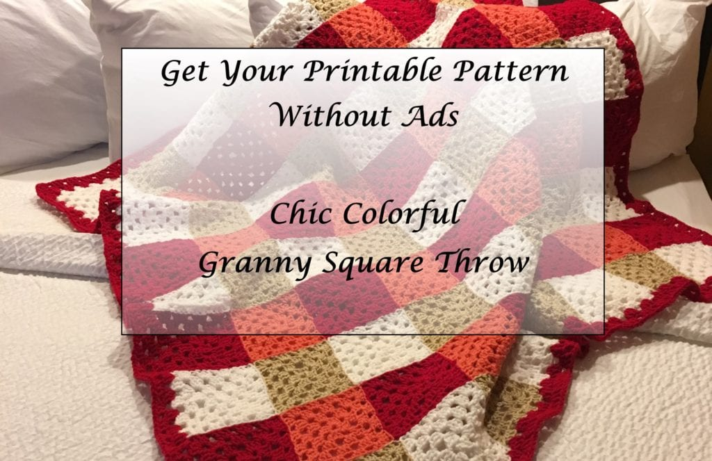 Chic Colorful Granny Square Throw Printable Pattern without ads