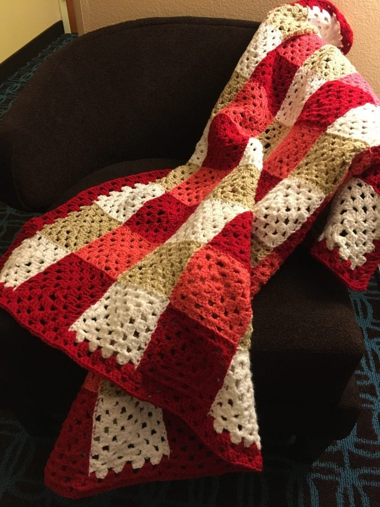 chic Colorful Granny Square Throw on chair