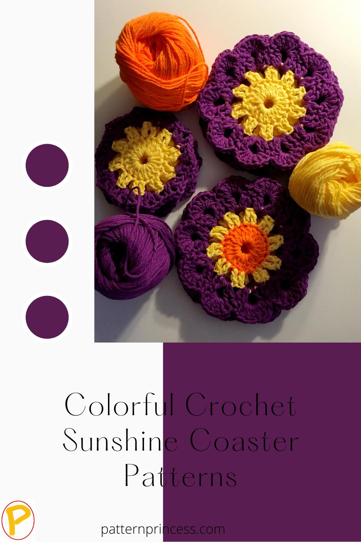 Colorful Crochet Sunshine Coaster Patterns
