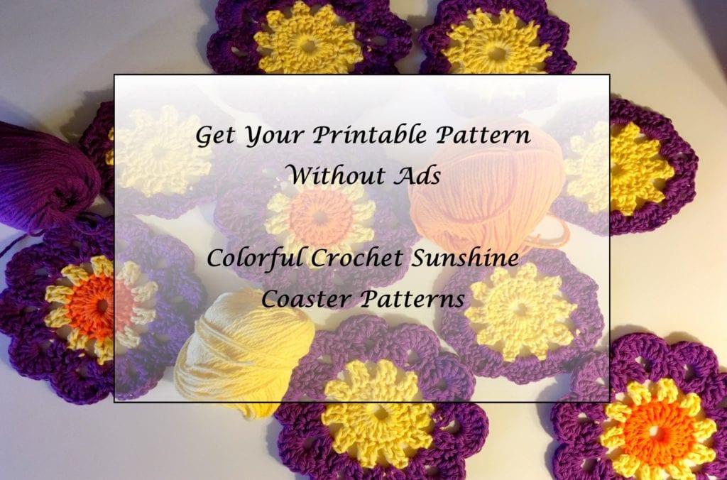 Colorful Crochet Sunshine Coaster patterns printable
