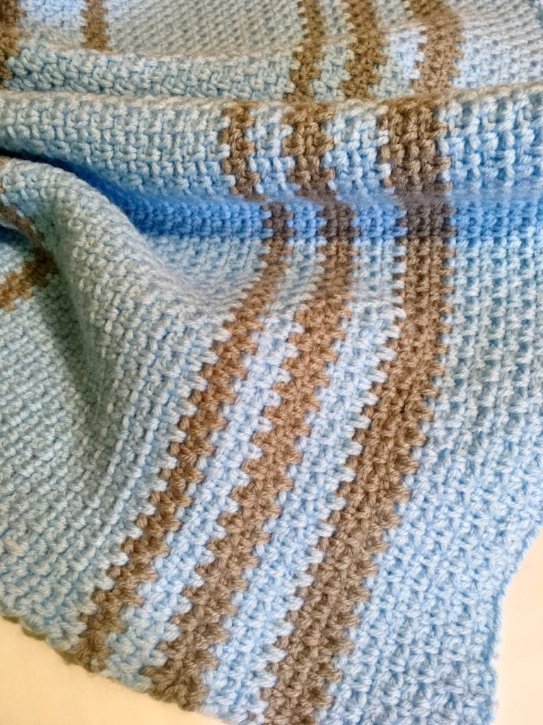 Close up simple crochet moss stitch baby afghan