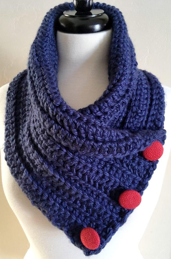 Navy Crochet Chunky Neck Warmer