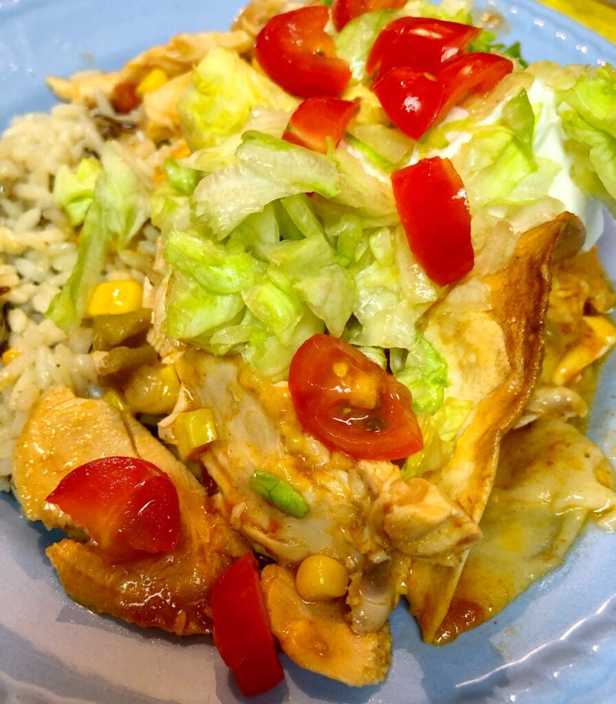 Saucy Mexican-Chicken Bake Served with Rice