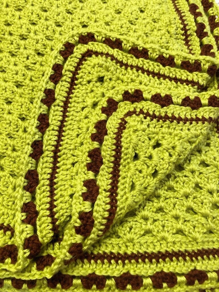 Chartreuse and Chocolate Blanket with the Edge Folded Up