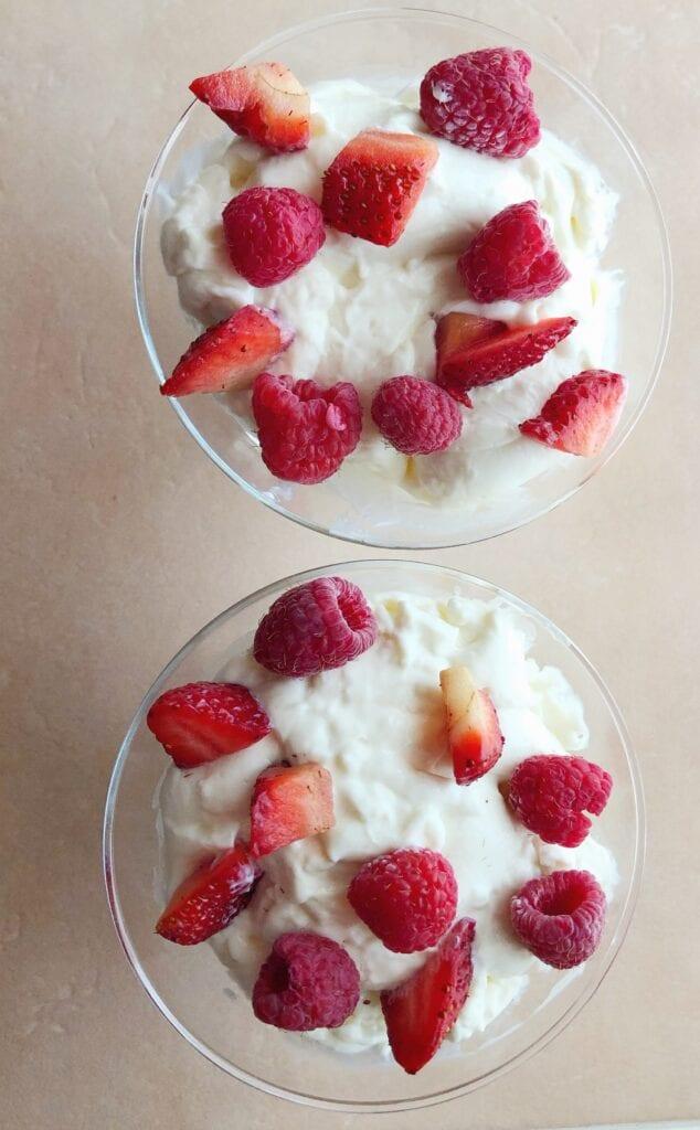 Swedish Cream with Strawberries and Raspberries