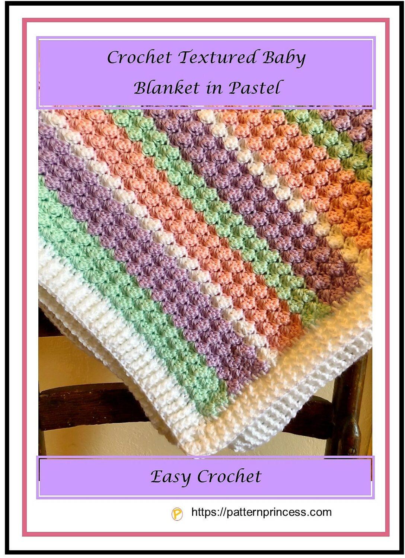 Crochet Textured Baby Blanket in Pastel 1