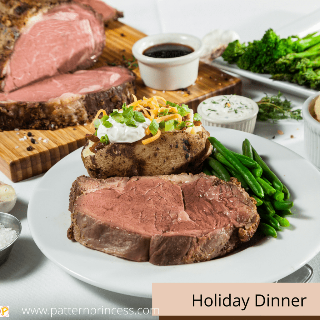 Prime Rib Christmas Meal with Baked Potato and Green Beans