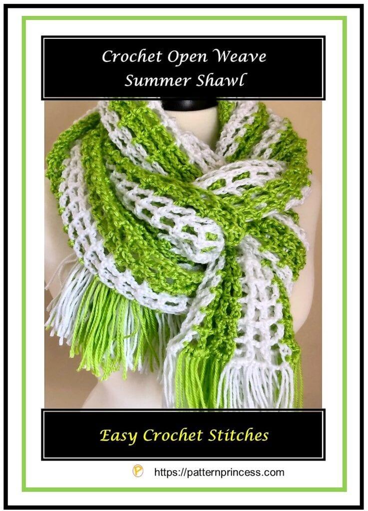 Crochet Open Weave Summer Shawl