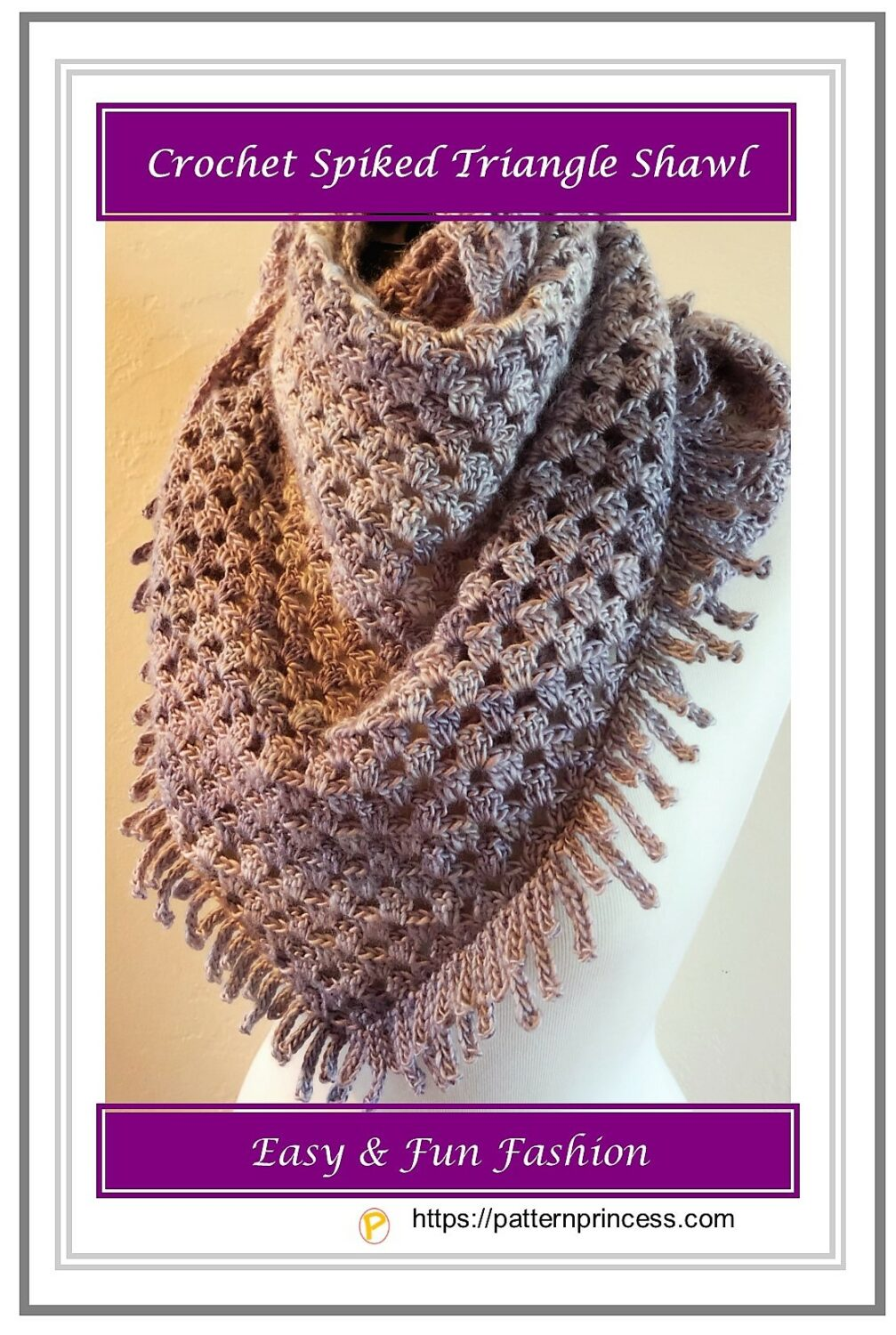 Crochet Spiked Triangle Shawl 1