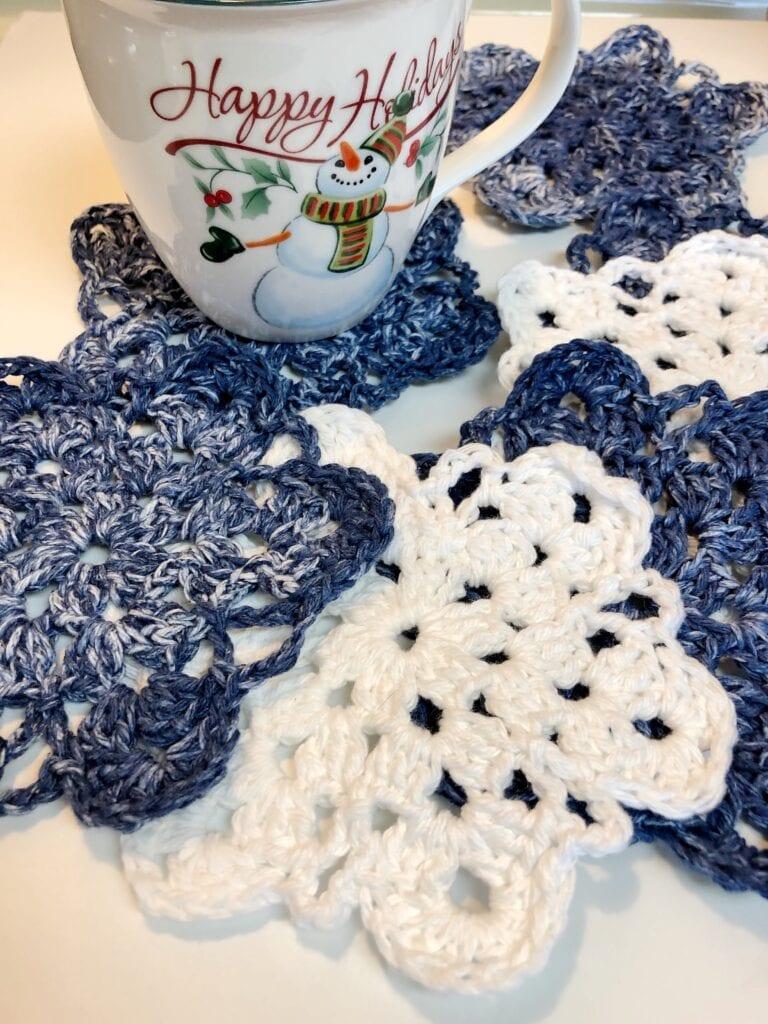 Crochet Simple Snowflake Coaster