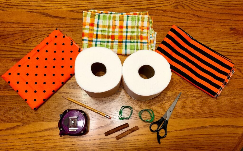 Supplies for Two Toilet Paper Pumpkins