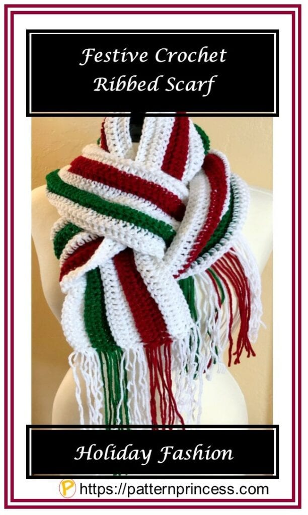 Festive Crochet Ribbed Scarf Pattern
