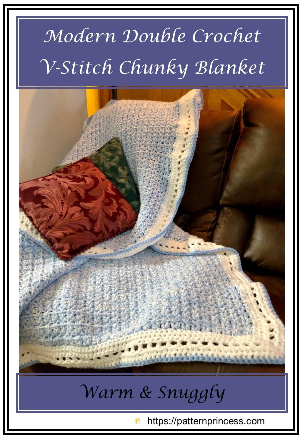 Modern Double Crochet V-Stitch Chunky Blanket
