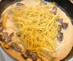 Adding Gorgonzola Cheese and Pasta