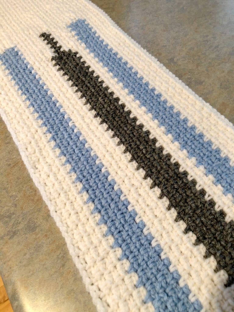 Close up of Linen Stitch Table Runner