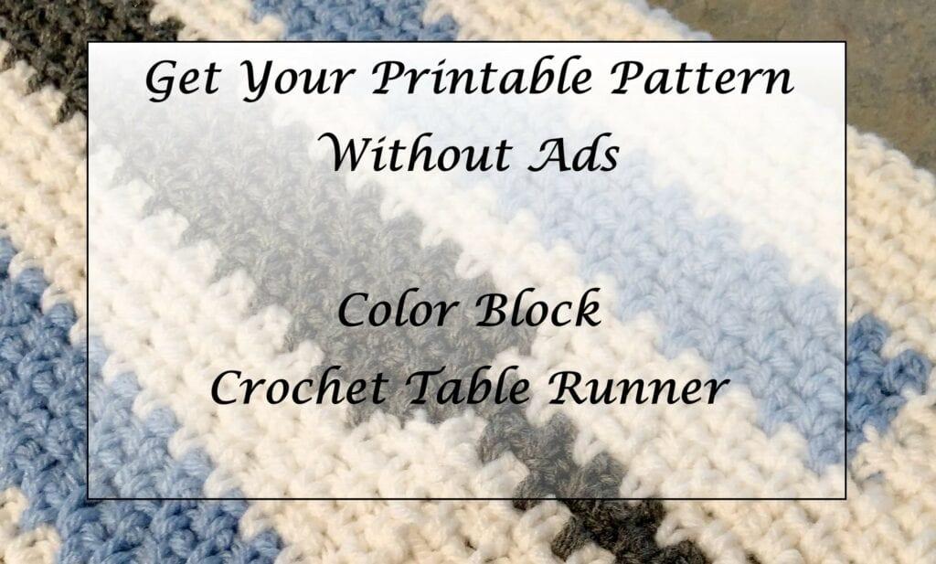 Color Block Crochet Table Runner Printable