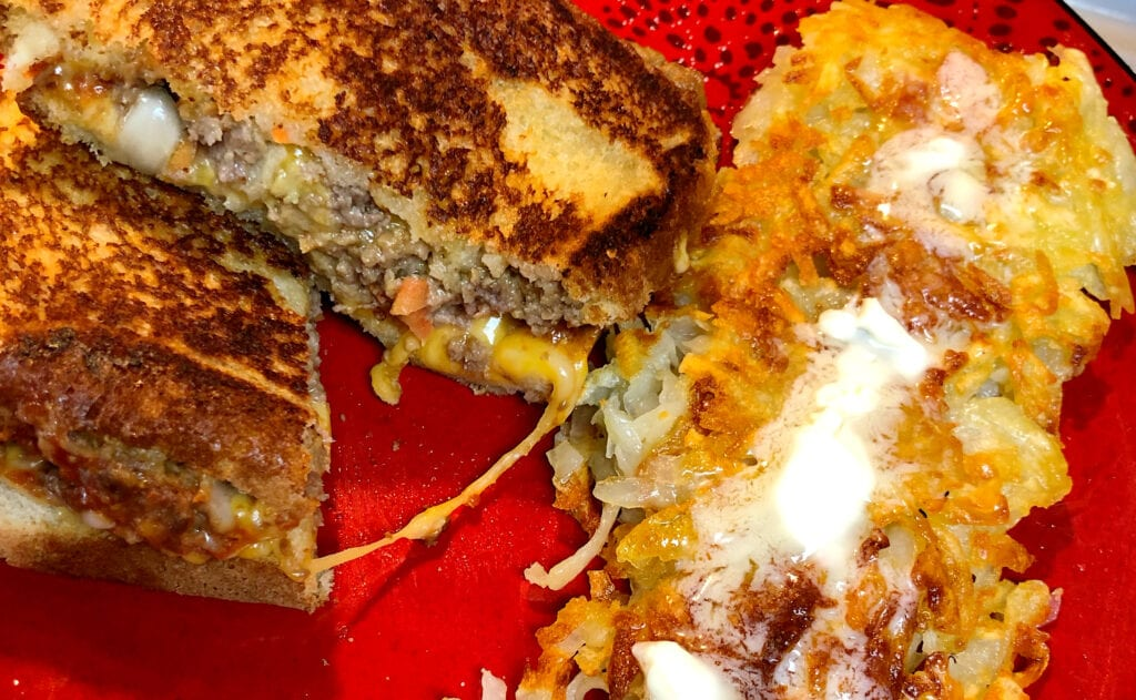 Meatloaf Sandwich and Homemade Hash Browns Meal
