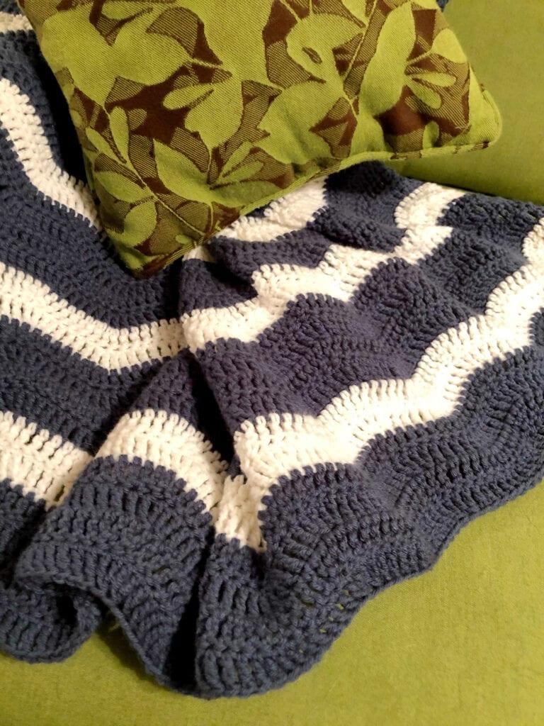 Crochet Ripple Blanket on Chair