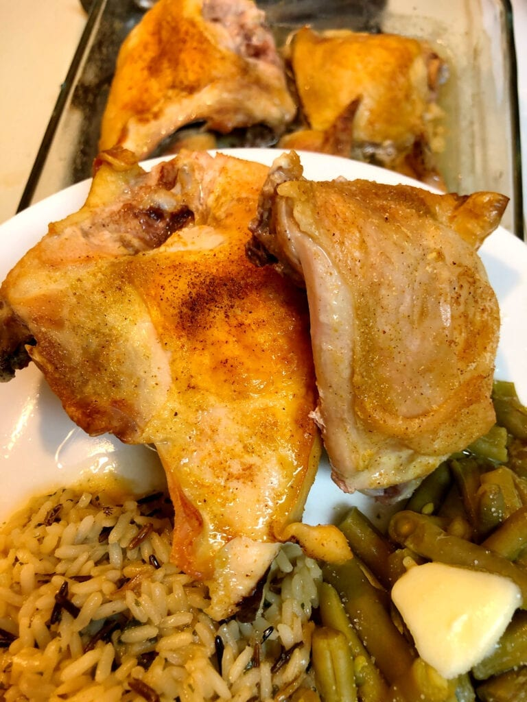 Baked Chicken with Wild Rice and Green Beans Dinner
